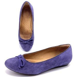 Clarks 7M Purple Suede Bow Ballet Flats